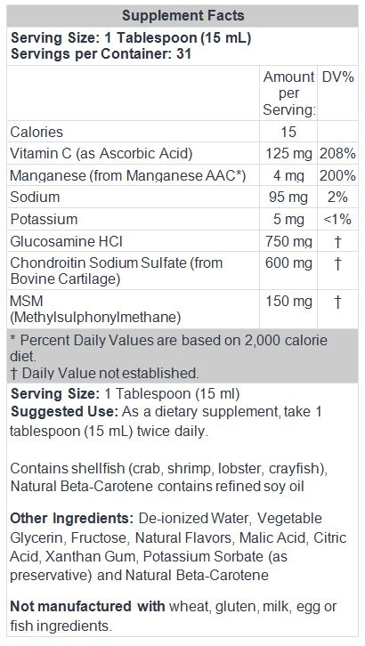 Glucosamine, Chondroitin & MSM Liquid 16 fl oz