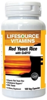 Red Yeast Rice with CoQ10 - Organic 120 Veg Capsules - VALUE SIZE