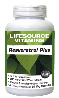 Resveratrol Plus w/ Red Wine Extract, Natural Trans-Resveratrol, Green Tea & Grape Seed - 60 Vcaps