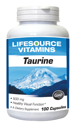 Taurine 500 mg. (Free Form) - 100 Capsules