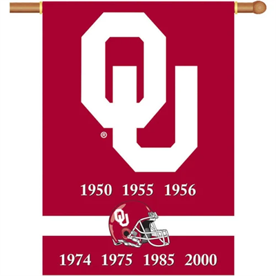 "Oklahoma Sooners ""Championship Years"" 28"" x 40"" Banner"