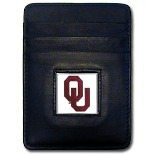 Oklahoma Sooners Leather Money/Clip Carholder