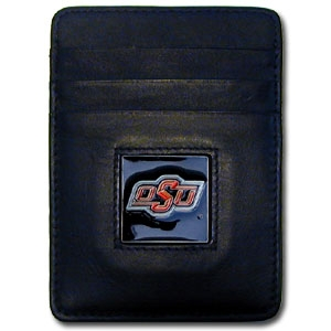 Oklahoma St. Cowboys Leather Money/Clip Carholder