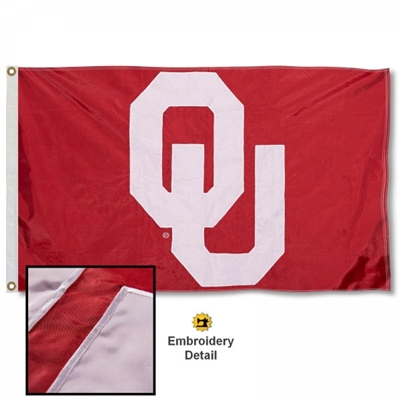 Oklahoma Sooner's Premium 2x5 Applique Flag with Grommets