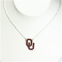 Oklahoma Sooners Crystal Logo Necklace