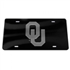 Oklahoma Sooners License Plate Mirrored  Black with Silver OU
