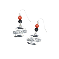 Oklahoma State Silver Beaded Dangle Earrings