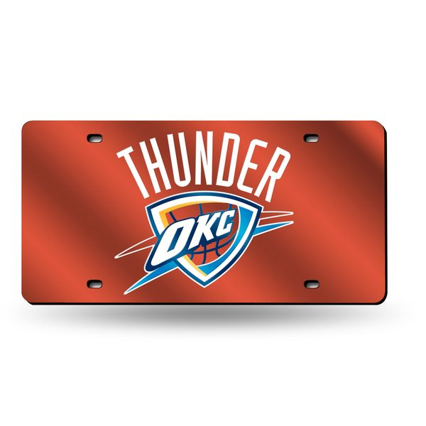 sale retailer f8fd6 249af Oklahoma City Thunder License Plate Mirrored Logo Orange