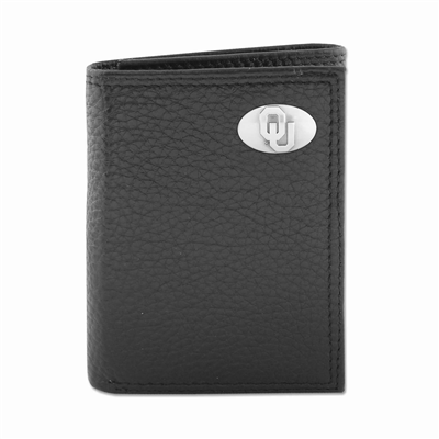 Oklahoma Sooners Tri-Fold Black Pebble Wallet w/Case