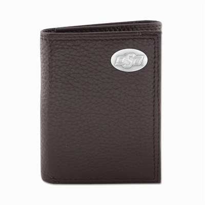 Oklahoma State Brown Tri-Fold Wallet