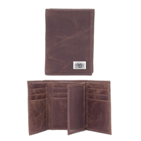 Oklahoma Sooners Brown Leather Tri-Fold Wallet