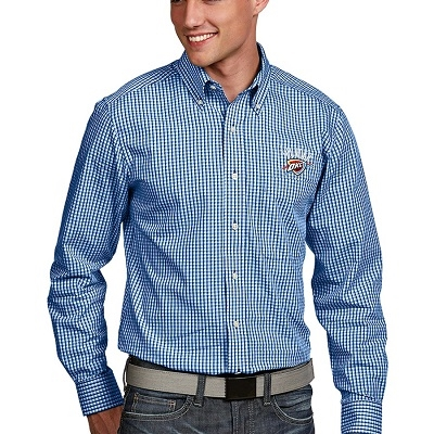 Oklahoma City Thunder Antigua Associate Button-Down Long Sleeve Shirt – Royal