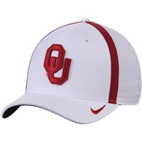 Men's Nike White Oklahoma Sooners  AeroBill Sideline Swoosh Coaches Performance Flex Hat
