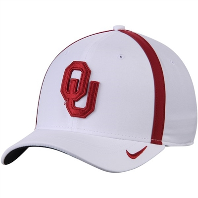 Men's Nike White Oklahoma Sooners 2017 AeroBill Sideline Swoosh Coaches Performance Flex Hat