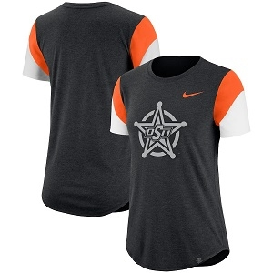 Oklahoma State Cowboys Nike Women's Fan Tri-Blend T-Shirt - Heathered Black