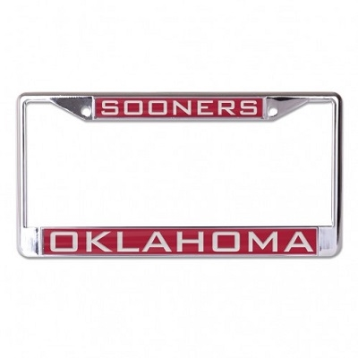 Mirrored Licence Plate Frame - Oklahoma Sooners