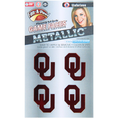 University of Oklahoma Metallic Peel and Stick Temp Tattoos