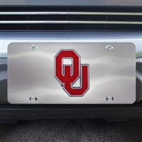 Oklahoma Sooners Die Cast Silver Metal Licence Plate with Colored Chrome Emblem