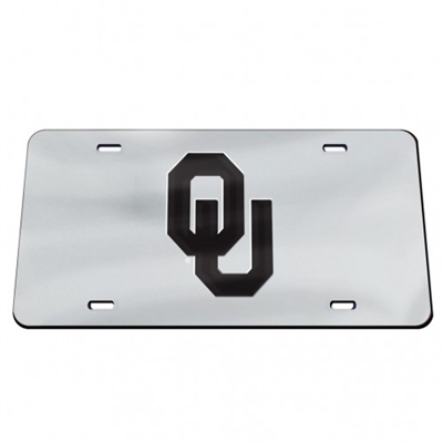 OU Mirrored License Plate Chrome/Black