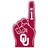 "Oklahoma Sooners 12"" #1 Finger Vinyl Decal"