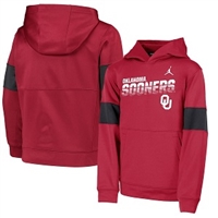 Oklahoma Sooners Jordan Brand Youth Colorblock Performance Pullover Hoodie - Crimson