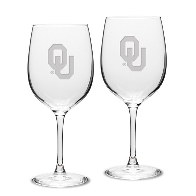 Oklahoma Sooners 16oz Wine Glass Set