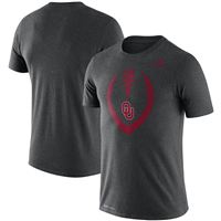 Oklahoma Sooners Jordan Brand Football Icon Legend Performance T-Shirt - Heathered Charcoal