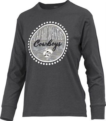 Oklahoma State Cowboys Camo Print Ladies Long-Sleeved Tee by Blue 84