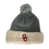 Oklahoma Sooners Sherpa Winter Hat with PomPom Grey