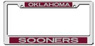Oklahoma Sooners Mirrored Licence Plate Frame Crimson/Silver