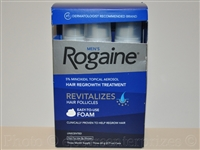 Men's Rogaine Hair Regrowth Treatment Foam, Unscented, 2.11 oz - 3 Months Supply (3 cans)