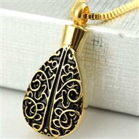 Large Gold Teardrop With Floral Tree Design