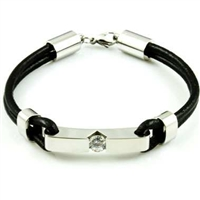 Black and Silver Bracelet With CZ - Stainless and Leather
