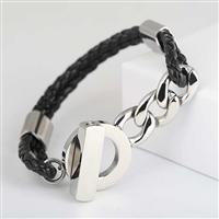 Black Braid and Chain Bracelet