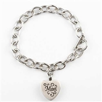 Link Bracelet With Mom Heart Pendant