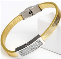 Gold Colored Cremation Bracelet With Rhinestones