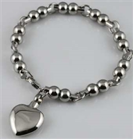 Ball Link Bracelet With Heart