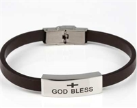 """God Bless"" Bracelet With Brown Band"