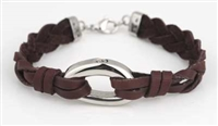 Brown Leather Bracelet With D-Shaped Pendant