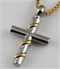 Stainless Steel Cross With Gold Ribbon