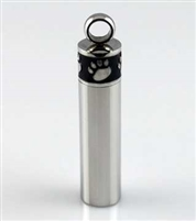 Black and Silver Cylinder With Paw Prints At Top