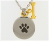 Paw Print On Round With Gold Bone Charm
