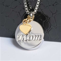 Round Mom With Gold Heart Charm