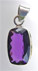 faceted rectangular amethyst pendant
