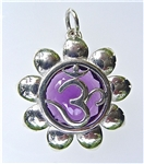 om pendant with large amethyst in sterling silver