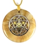 BBAP-SST/GSOL  Brown Banded Agate Sacred Geometry Silver Star Tetrahedra with Gold Seed of Life Stone Pendant