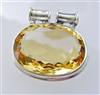 very large citrine pendant in sterling silver