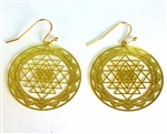 ER-03-B Cut-Out Shree Yantra 18k Gold Plated 30mm Earrings
