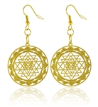 Sri Yantra Cut Out Design 18K Gold Plated Earrings