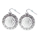ER-03-S-B Cut-Out Shree Yantra Silver Plated 30mm Earrings